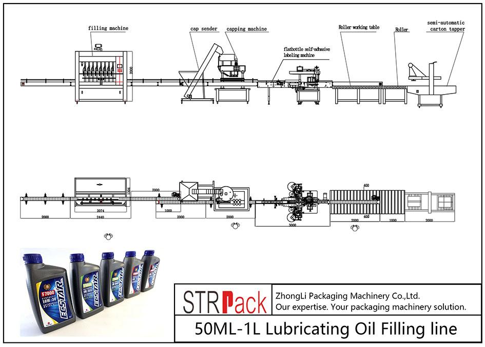 Dây chuyền chiết rót dầu bôi trơn 50ML-1L tự động